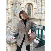 hot deal buy women blazer casual notched plaid 2019 spring coats fashion long sleeve coat double breasted female plaid blazer korean