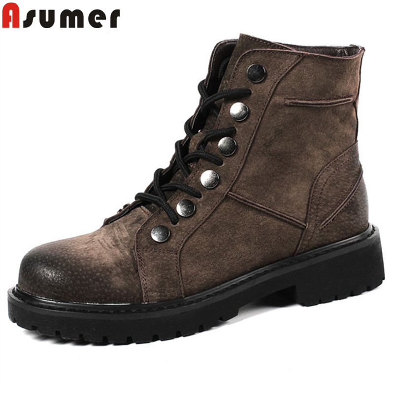 ASUMER 2018 fashion ankle boots for women round toe med heels autumn winter boots lace up genuine leather boots platform shoes asumer pink silvery round toe lace up spring autumn ladies single shoes platform women genuine leather high heels shoes