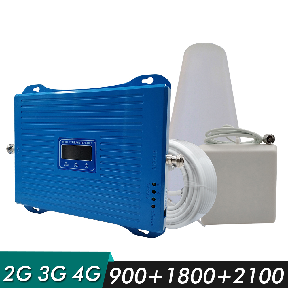Powerful 2G 3G 4G Tri Band GSM Signal Booster GSM 900+DCS/LTE 1800+UMTS WCDMA 2100 MHz Mobile Signal Repeater Cellular AmplifierPowerful 2G 3G 4G Tri Band GSM Signal Booster GSM 900+DCS/LTE 1800+UMTS WCDMA 2100 MHz Mobile Signal Repeater Cellular Amplifier