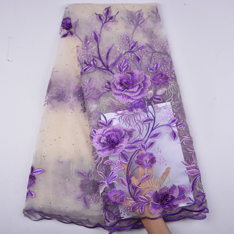 2018 French Lace Fabric Purple Wedding High Class African Tulle Lace Fabric 5 Yard 3D Flowers