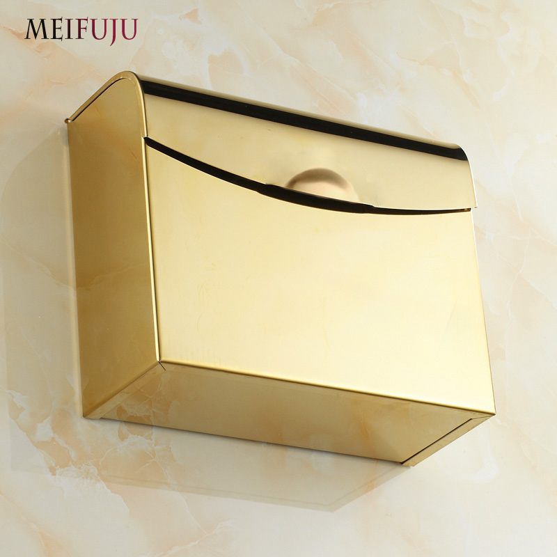 MEIFUJU Luxury Gold 304 Stainless Steel Toilet Paper Holder Roll Paper Holders Tissue Box Holder Square Toilet Paper Box MFJ511 304 stainless steel tape paper carton waterproof paper towel box toilet roll holder hand hand carton carton