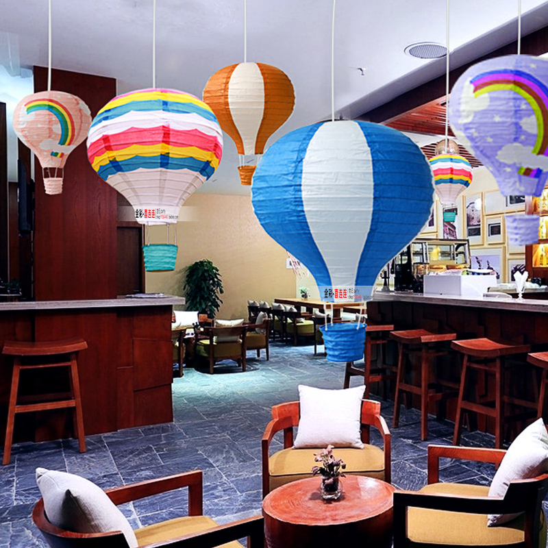 AJP 1Piece Rainbow Printing Paper Lantern Hot Air Balloon Wedding Decoration Nursery Decoration Birthday Party Suppplies
