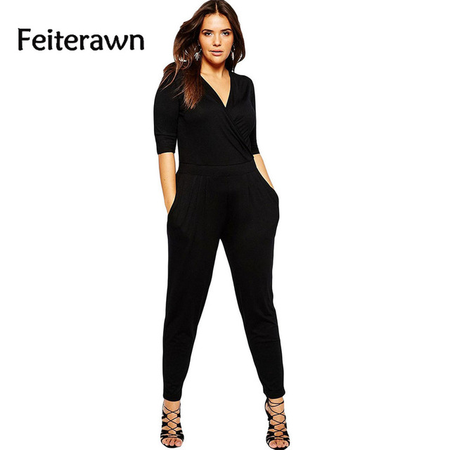 women new arrival jumpsuit 2017 spring hot sales formal style Overall Autumn  Black  V Neck XXL plus size Large Long  DL64206