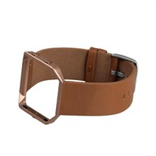 Genuine Leather Bracelet Strap Replacement Band with Metal Frame For Fitbit Blaze Smart Fitness Watch Camel Metal Frame RoseGold
