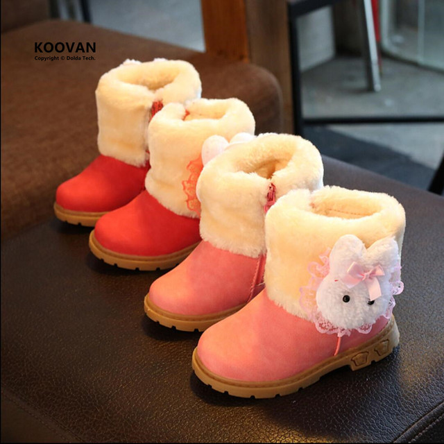 Koovan Niños Botas 2017 Botas de Nieve Zapatos de Bebé Zapatos de Invierno de Arranque de Los Niños Para Las Muchachas 1-2 Años A Prueba de Agua Cremallera lateral de Conejo