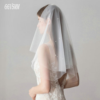 539f7cdcdd Blanco de la moda de la boda velo de tul velo de novia marfil cuentas 2019  barato novia accesorios 75 cm mujeres velo cordón con peine