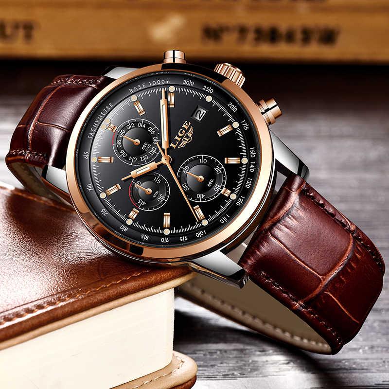 Reloj de pulsera para hombre LIGE reloj de moda Casual impermeable de cuarzo reloj de cuero de marca superior para hombre reloj de negocios de lujo Montre Homme