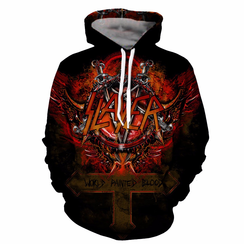YOUTHUP Slayer Hoodies For Men 3d Print Men's Hooded Sweatshirts 3d Pullover Hip Hop Rock Men Hoodies Streetwear Plus Size 5xl