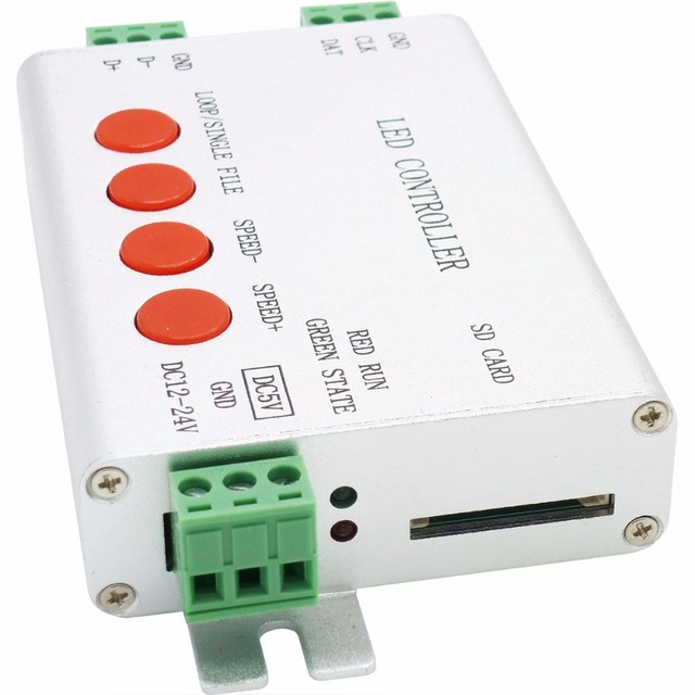 led controller,full color programmable,strip controller,1 port drive 2048 pixels,work with or without SD card,support WS2812,etc