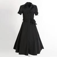 Free Shipping Mid Calf Length Long Dress Short Sleeves Stretch Cotton Vintage Rockabilly Clothing Black Dress