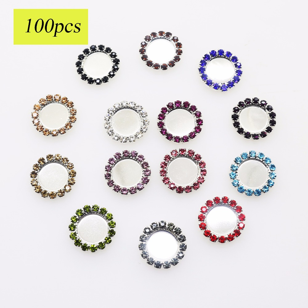 Free Shipping Inner 10mm Rhinestone Buttons Tray Bottle Cap Setting Can Choose Styles Mix 11 Colors 100PCS NK-T6.421