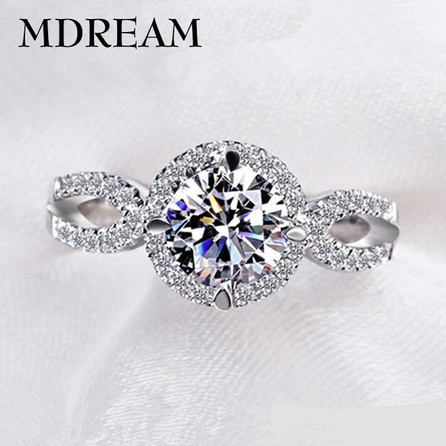 silver Color ring cubic zirconia for female girl romantic wedding