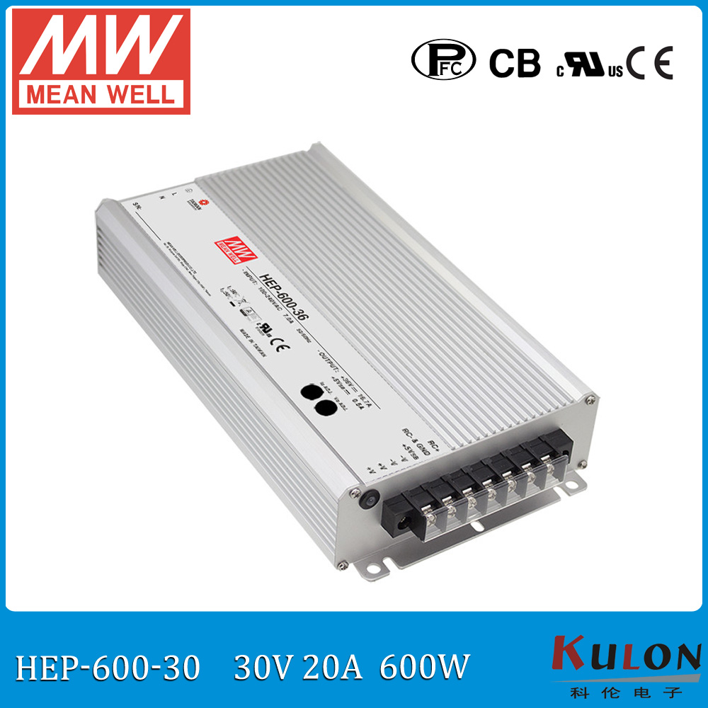 Original Meanwell HEP-600-30 high efficiency 600W 30V 20A output adjusted Power Supply for harsh environment 1mean well original hep 320 54a 54v 5 95a meanwell hep 320 54v 321 3w single output switching power supply