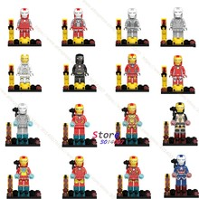 Single Marvel Avengers Iron Man Armor IronMan Mark collectable figure Tony Stark Patriot building blocks bricks toy for children(China)