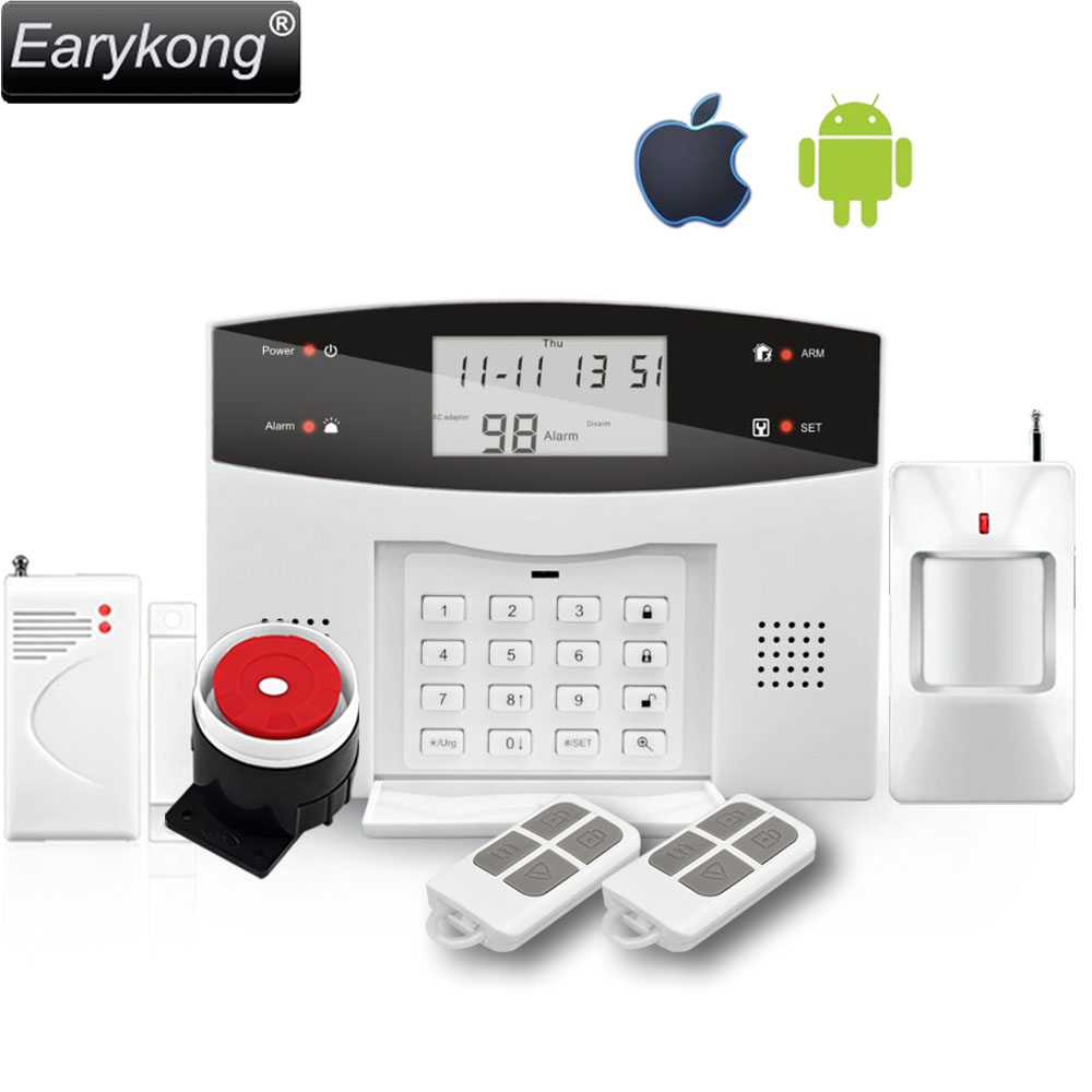 Free Shipping Wireless PSTN GSM alarm System M3B alarm with door detector and infrared detector, Russian Spanish French, English free dhl 868mhz wireless pstn wireless alarm system gsm network smart app gsm pstn alarm gsm alarm system 868mhz