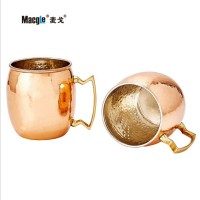 2pcs/set Moscow Mule Handcrafted Hammered Pure Copper Mugs Cup 100% Pure Copper with Brass Handle 530ML
