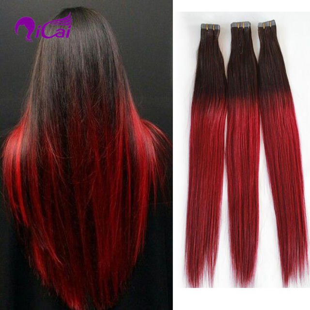 Ombre Tape Hair Extensions 7a Brazilian Remy Ombre Black Red