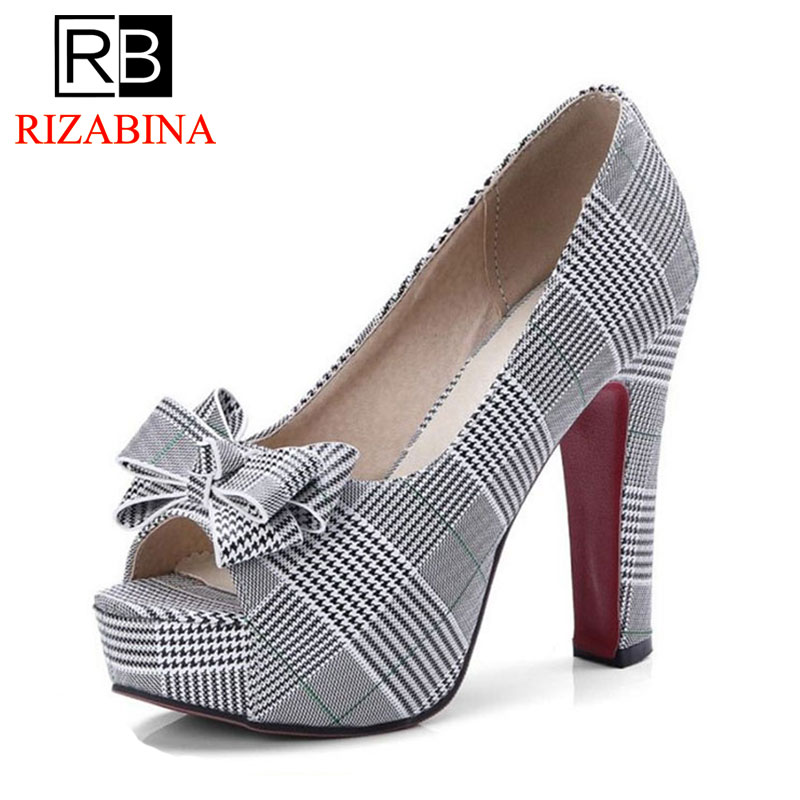 RIZABINA Size 32-43 Chic Women Platform Bowknot High Heel Shoes Women Peep Toe Bowtie Spike Heel Pumps Office Ladies FootwearRIZABINA Size 32-43 Chic Women Platform Bowknot High Heel Shoes Women Peep Toe Bowtie Spike Heel Pumps Office Ladies Footwear