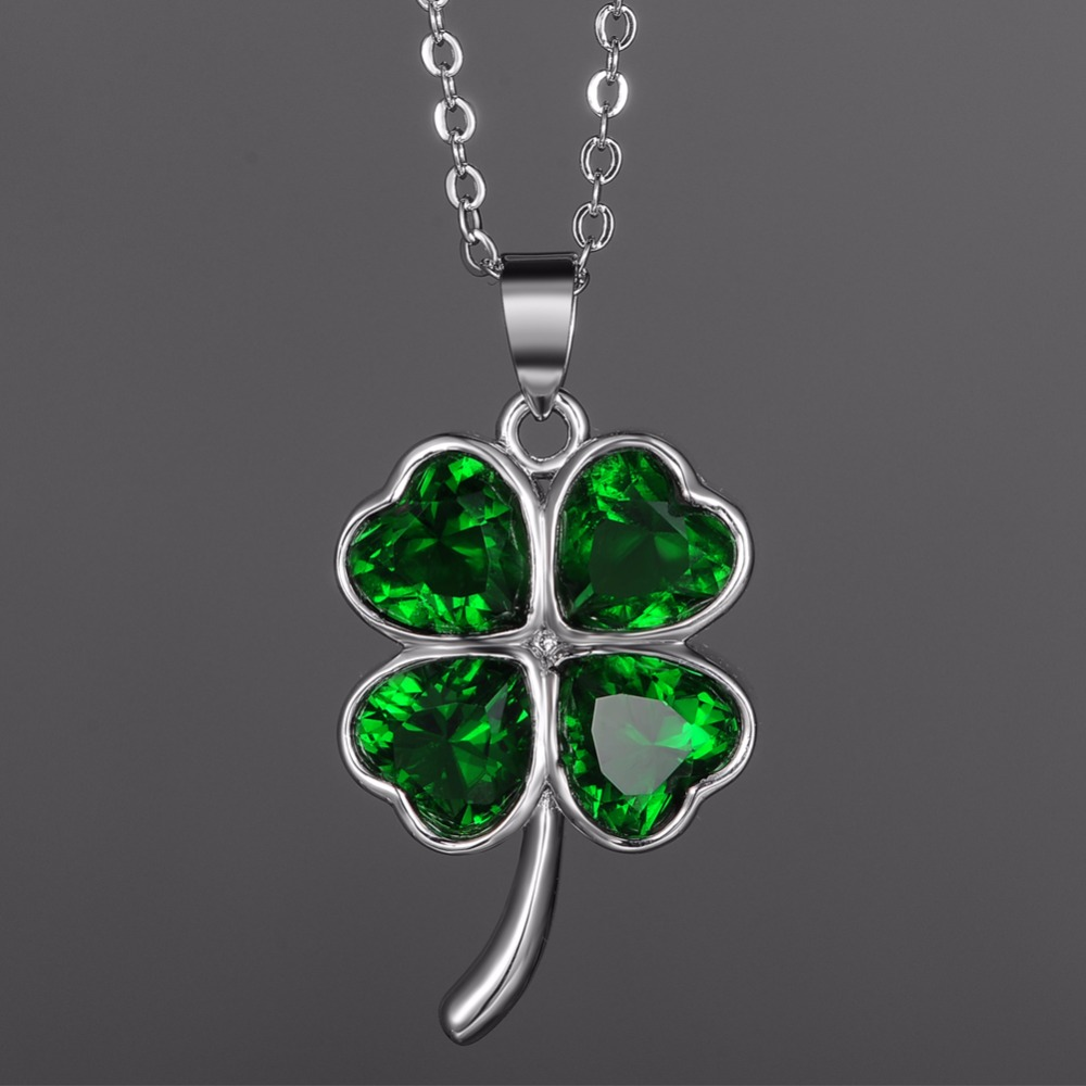 Green lucky shamrock necklace four leaf clover charm emerald green - Kivn Jewelry Lucky Four Leaf Clover Green Cubic Zirconia Womens Girls Bridal Wedding Necklaces Birthday Gifts 6pcs Wholesale In Pendant Necklaces From