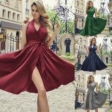 Sexy Summer Dresses Womens New Deep V Slim Dress 2019 Spring Autumn Knee-length Sundress Female Casual Fashion Party Night