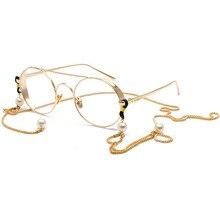 SO&EI Fashion Retro Pearl Metal Chain Glasses Accessories Eyewear