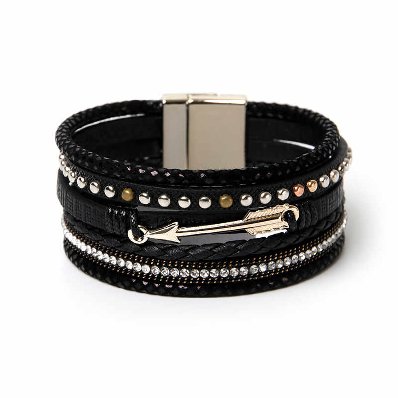 ORNAPEADIA Summer New Jewelry Top Sell Bohemia Multilayer Bracelets Fashion Arrow Rivet Accessories PU Leather Bangles for women