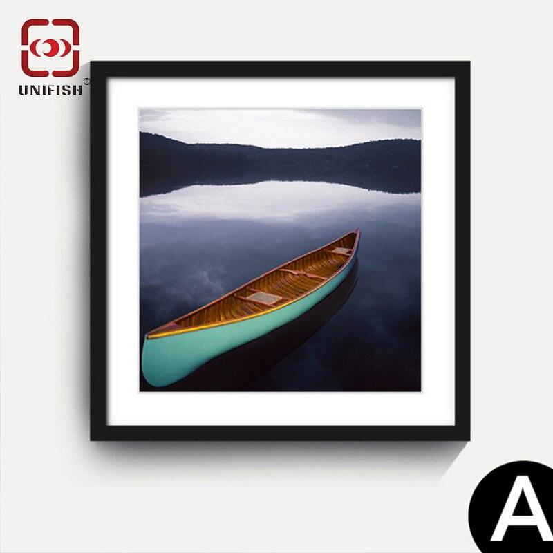 40 x 40cm modern boat landscape art print poster canvas painting framed home wall art decor