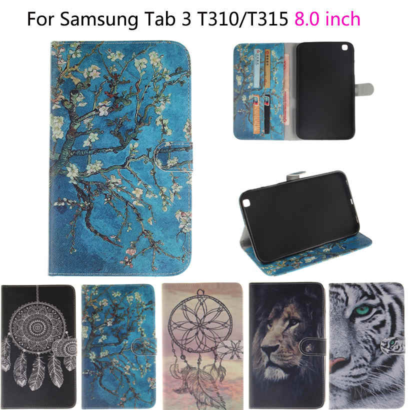 Tablet Funda Case For Samsung Galaxy Tab 3  8.0 T310 T311 T315 SM-T310 Case Cover Owls Tiger Lion animal Flip PU Leather Shell