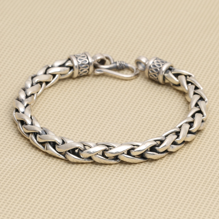 wholesale manufacturers S925 silver personalized jewelry Thai silver retro Mens Large twist bracelet peace lines wholesale silver jewelry manufacturers s925 mens fashion silver silver bracelet handmade coarse twist 7m