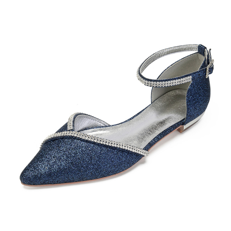 Flat Sequin Wedding Shoes Women Pointed Toe Ankle Buckle Strap Formal Party Flats Ladies Dress Shoes