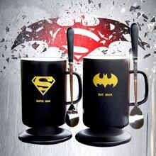 Avenger Heroes Tasse Mit Deckel und Löffel Tee Milch Superman Batman Captain America Iron Man Keramik Trink