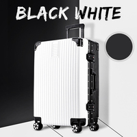 aluminum alloy frame password luggage universal wheel portable luggage black and white two color 20 inch boarding luggage