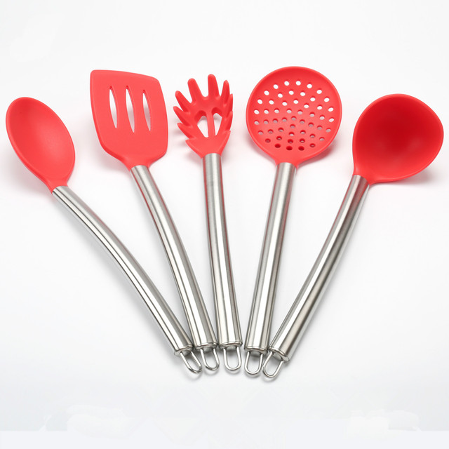5Pcs/Set Red Silicone Kitchen Tools Gadgets Cooking Utensils Set Stainless  Steel Handle Spoon+