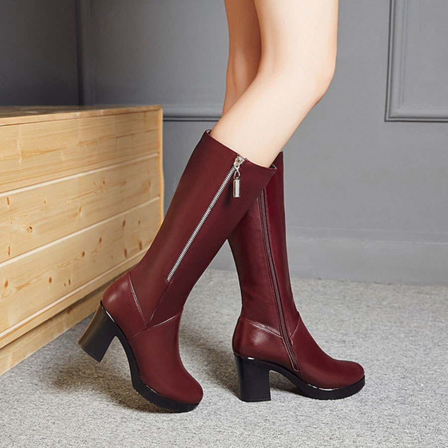 Fashion WomenS Knight Boots Nice Quality Thick High Heel Zipper Hard-Wearing and Anti-skid Velvet Warm Womens Boots FemaleFashion WomenS Knight Boots Nice Quality Thick High Heel Zipper Hard-Wearing and Anti-skid Velvet Warm Womens Boots Female