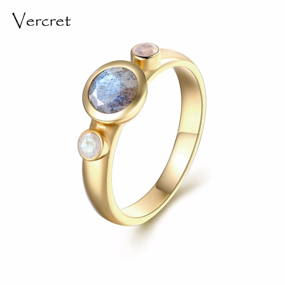 Vercret fine jewelry 925 silver ring 18k gold natural stone rainbow moonstone labradorite rings for women