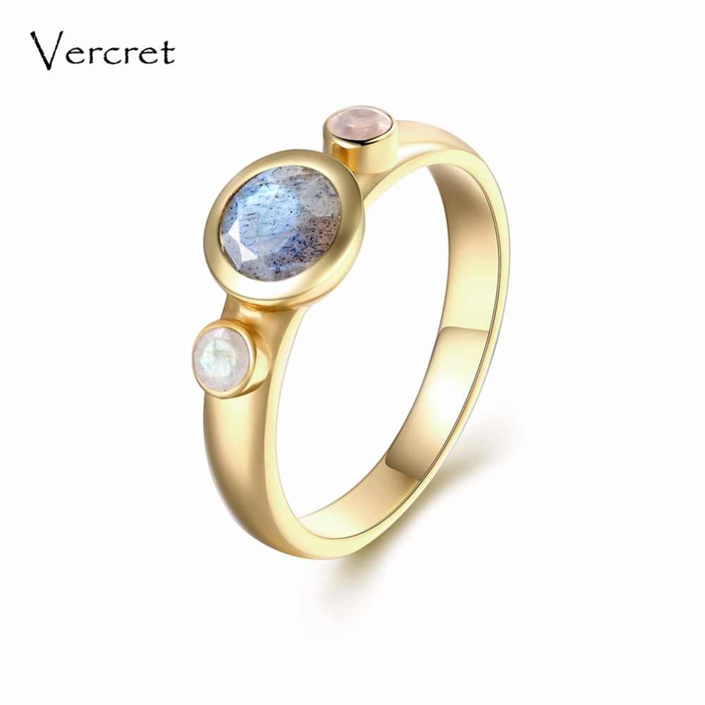 Vercret fine jewelry 925 silver ring 18k gold natural stone rainbow moonstone labradorite rings for women gift party