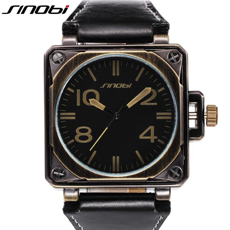 Prix pour SINOBI Militaire Carré De Sport Hommes de Montres Bracelet En Cuir Top Marque De Luxe Mâle Genève Quartz Horloge Marines Montre-Bracelet