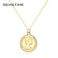 Gem&Time Elizabeth Round 14K Gold Round Pendant Necklaces for Women Wedding Engagement Jewelry Yellow Gold Collares AU585 N14101