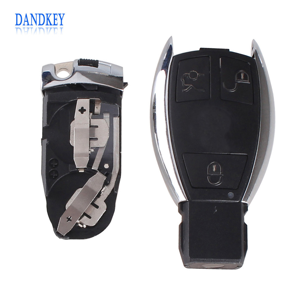 Dandkey 3 BUTTONS For Mercedes Key For BENZ SMART KEY FOB REMOTE SHELL CHROME CASE S SL ML SLK CLK E Holder Insert Key With Logo цена