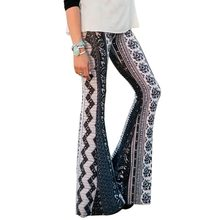 New Women Fashion European and American Style Skinny-Fitting Printed Flare Pants Nine Points Pants mid Waist Ladies' clothes(China)