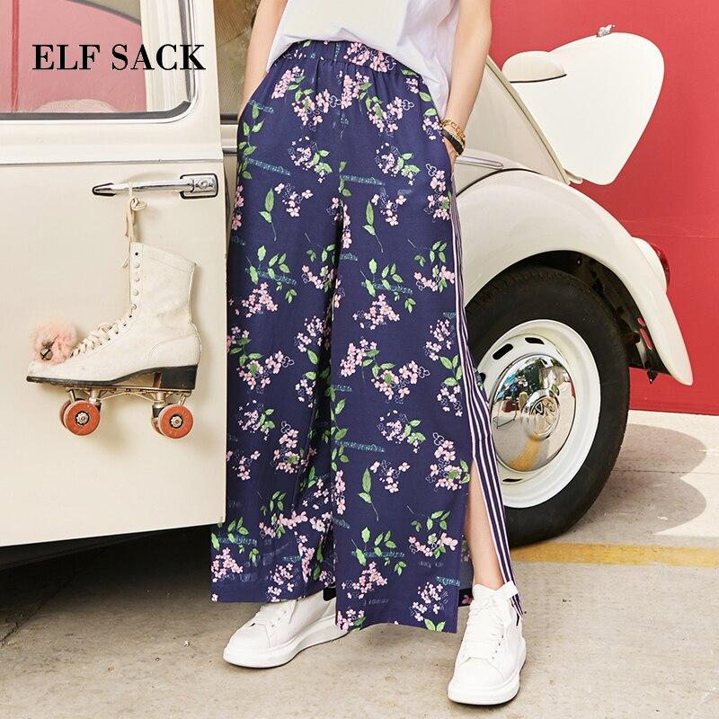 ELF SACK European Autumn New Fashion Woman   Pants   Casual Loose Floral Print Women   Pants   Mid Waist Harajuku   Wide     Leg     Pants   Female