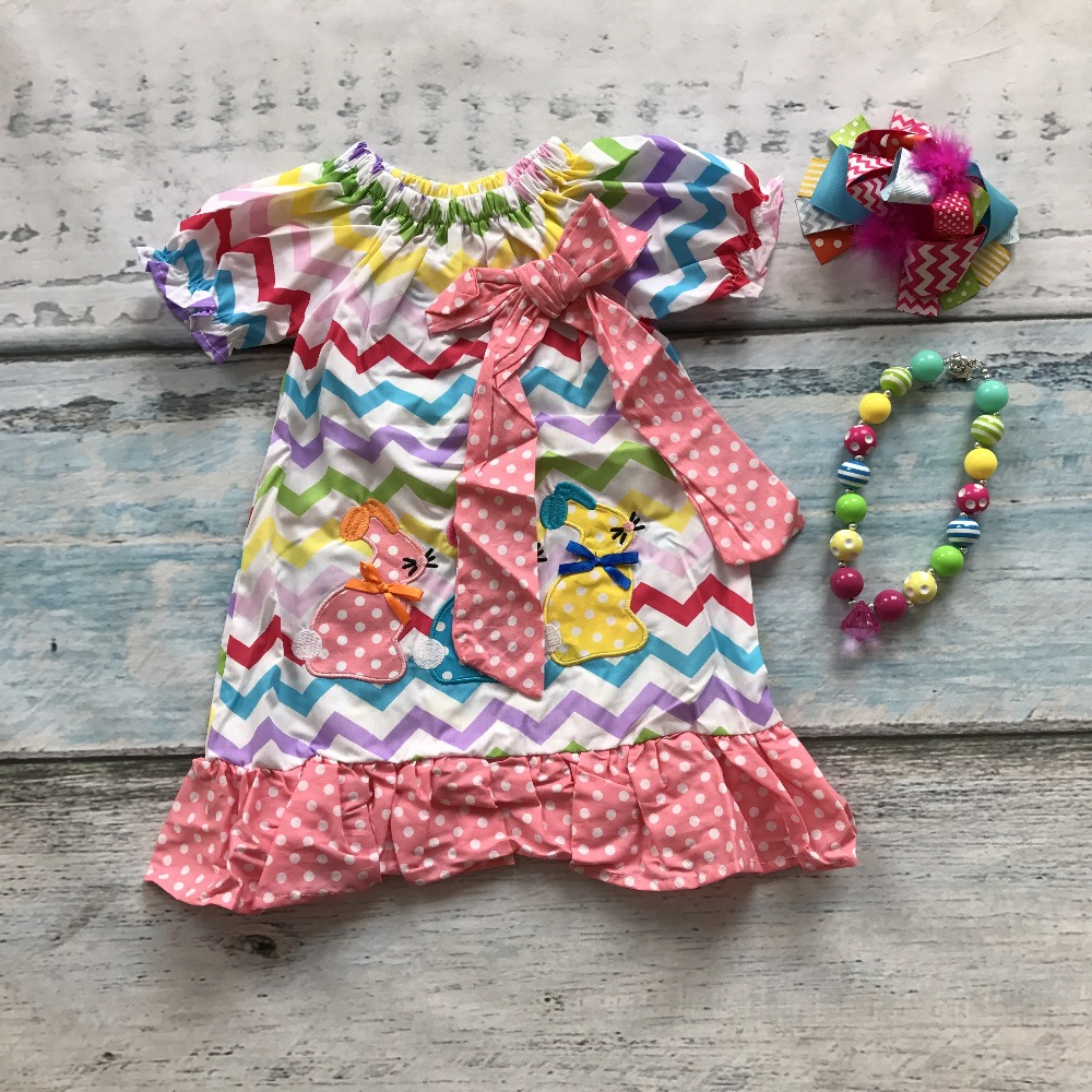 new arrival baby girls 3 bunny chevron dress children Easter party outfits children bunny dress with matching accessories rosemary wells bunny party