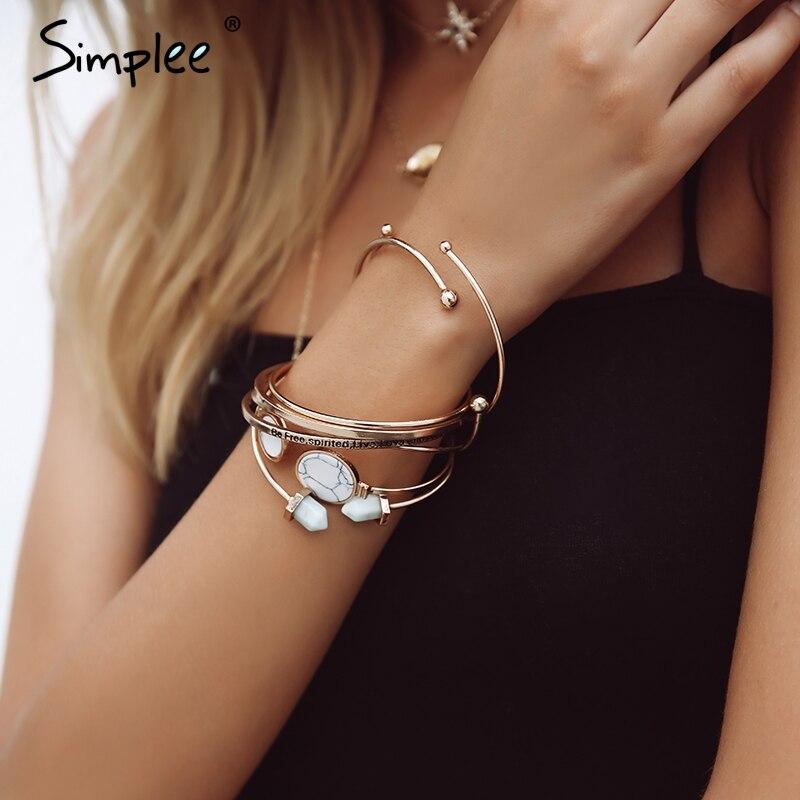 Simplee Fashion geometric heart jewelry bracelet women Letter trendy multilayer metal Party streetwear chic fine jewelry 2018|Strand Bracelets| |  - title=