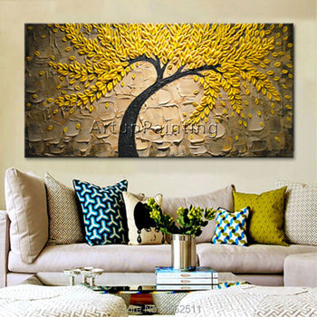 Canvas Painting palette knife 3D texture acrylic Flower golden tree Wall art Pictures For Living Room home cuadros decoracion2