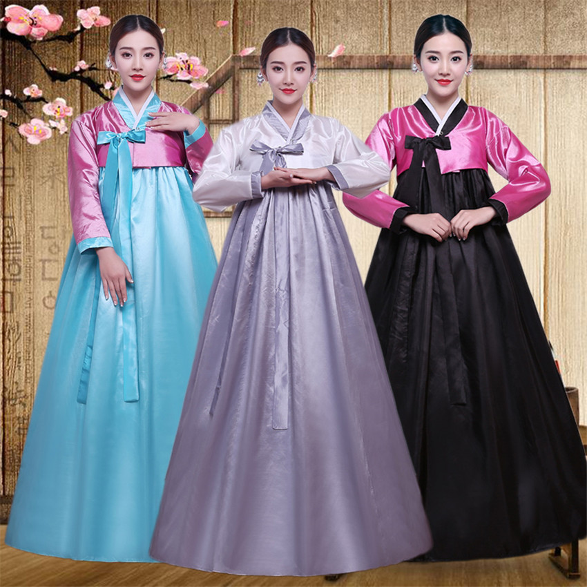 10 Color Korean Traditional Palace Female New Year Minority Dance  Performance Dress For Women Full Sleeve Hanbok Costume