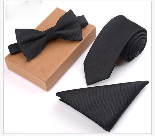 Poliéster Flaco Corbata Corbata Corbatas 3 unids/set Hombres Traje de Boda Delgado Clásico Color Sólido Ocasional Del Lazo del lazo WHJL005