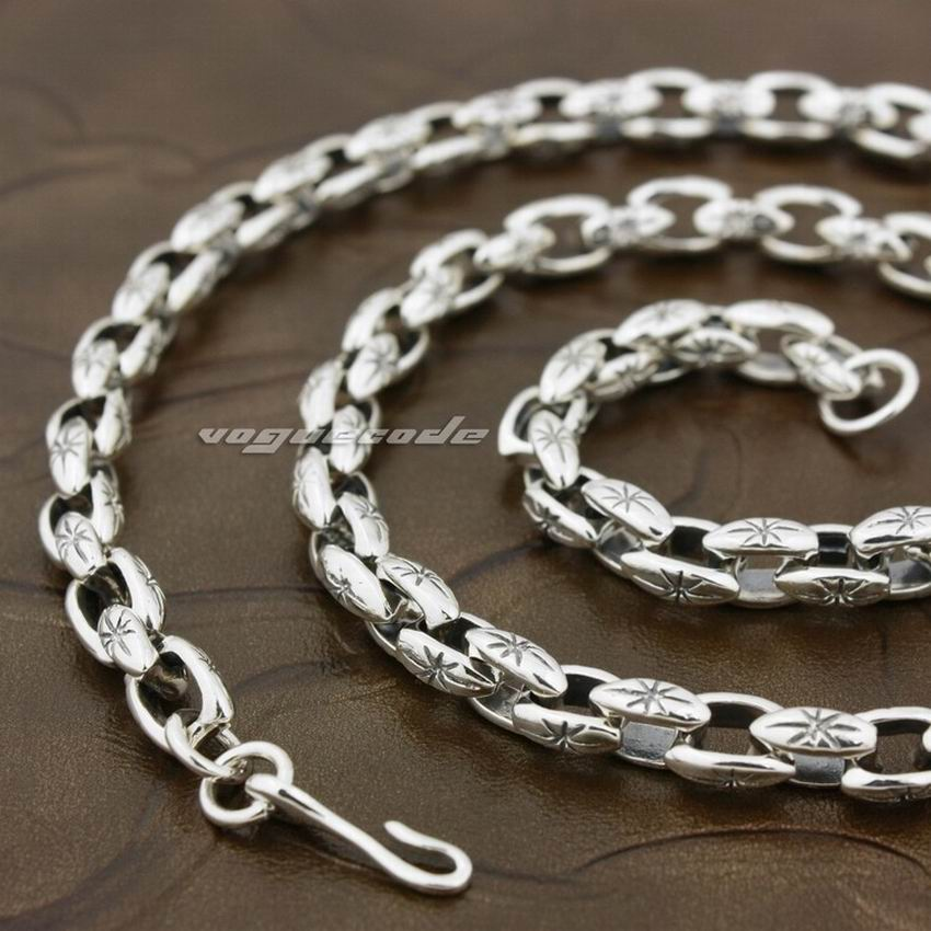 925 Sterling Silver Mens Biker Rocker Punk Necklace 8K009 Length 18 to 36 Inches Available 18 to 36 925 sterling silver skulls mens biker rocker punk necklace 8w004n
