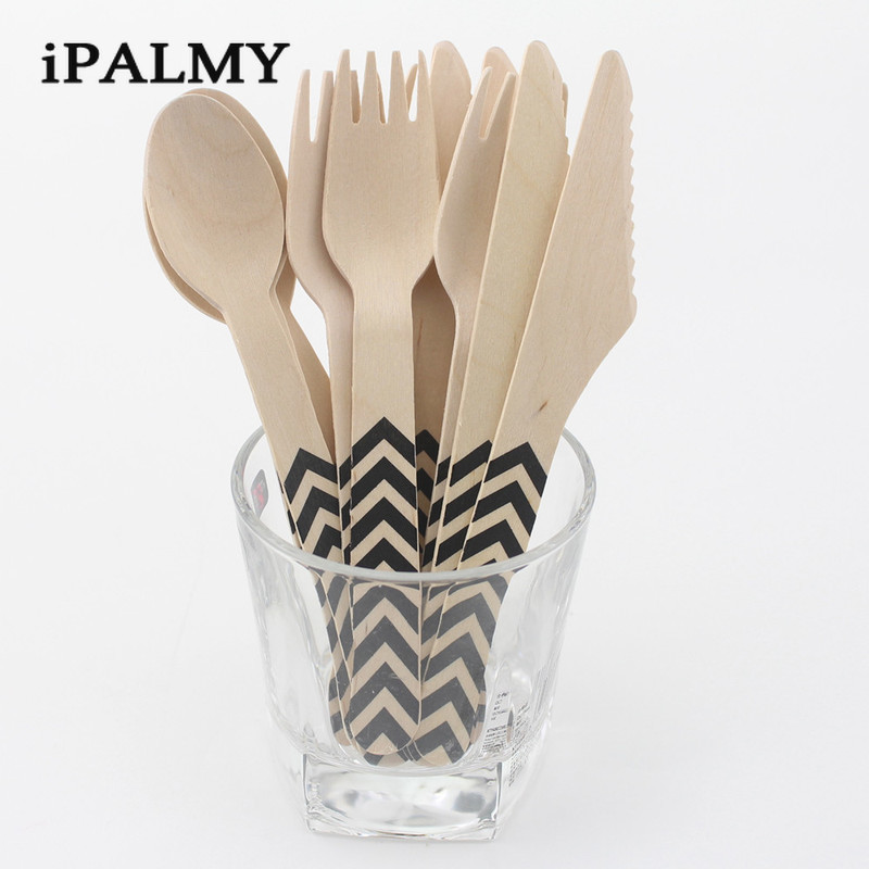 144pcs Wooden Cutlery Set Chevron Disposable Biodegradable Natural Birchwood Dessert Knife and Frok&Spoon for Birthday Party
