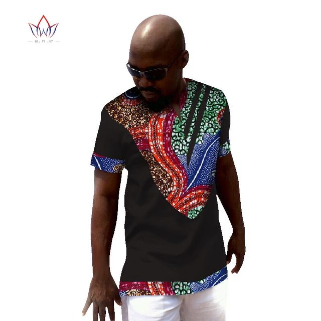 Dashiki Men Top T-shirt Bazin Riche African Men Clothes 100% Cotton Print  Patchwork Button Top Tees African Clothing WYN52 0791bbef9c2b