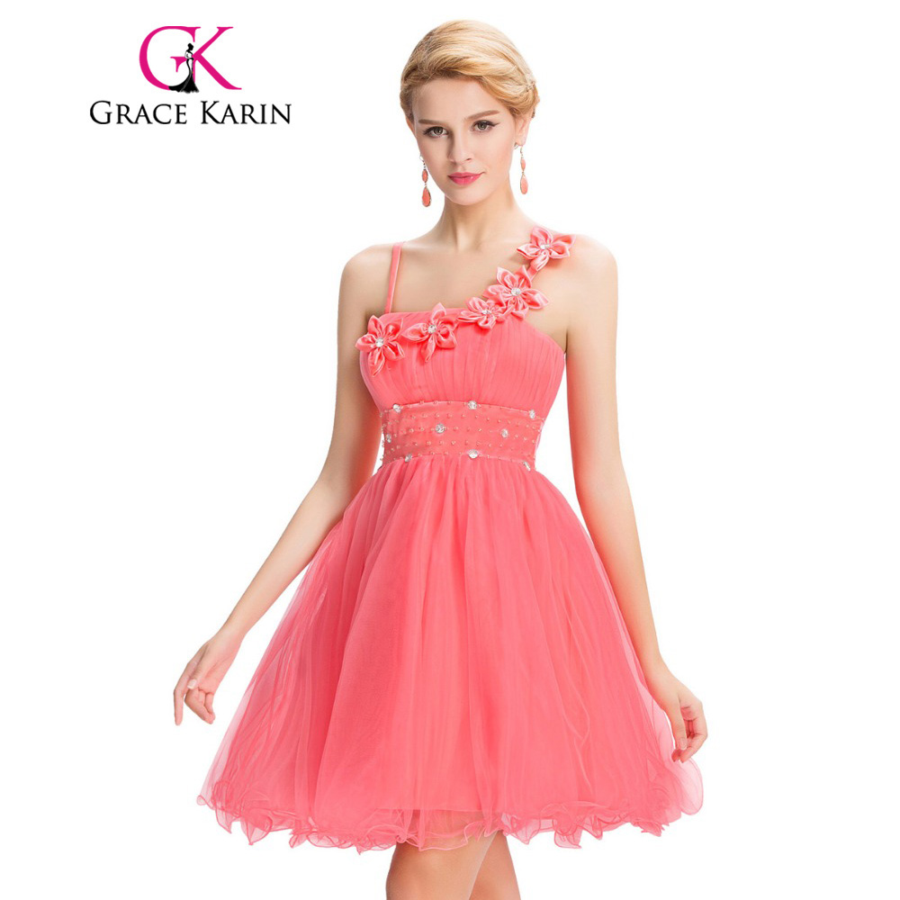 Grace Karin Kurz Puffy Brautkleider Satin Wassermelone Rot Spaghetti